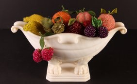 Alabaster Compote With Various Bead Studded Faux Fruit