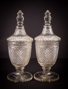 Pair Cut Crystal Glass Urns With Covers