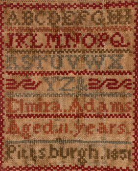 Pittsburgh 1851 Alphabet Sampler, Elmira Adams