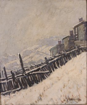 "Mabel K. Day Ptg. ""snowy Hillside Workers Houses"""