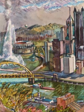"Henry Koerner ""pittsburgh Panorama From Mount"