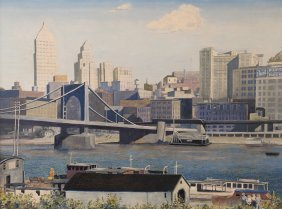 Lloyd Weninger 1945 Painting Of Pittsburgh From The
