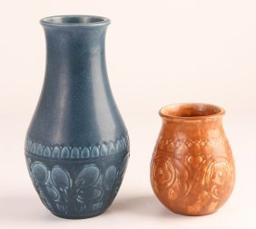 Two Rookwood Ceramic Vases With Floral Inscriptions