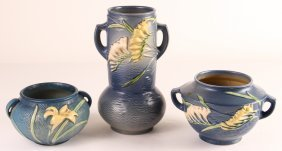 Three Two-handled Blue Roseville Pottery Vessels
