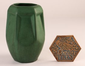Weller Arts And Crafts Vase W/batchelder Tile