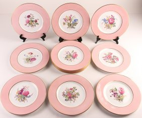 Set Of Twelve Floral Copeland Spode Plates #4625.