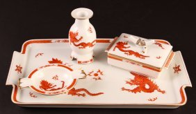 Meissen Cigarette Set With Chinese Dragon Motif