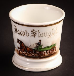 Occupational Shaving Mug, Teamster Driving Two Horses
