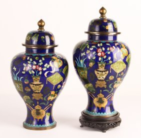 Pair Chinese Cloisonné Lidded Vases