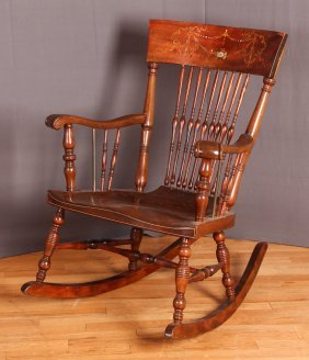 Antique Hardwood Rocker Chair With Mother Of Pearl