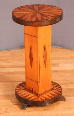 Vintage American Folk Art Marquetry Side Table