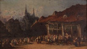 Continental School Oil Painting Of European Village