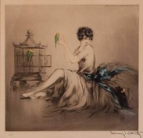 Louis Icart Colored Etching Woman With Dog And Parrots
