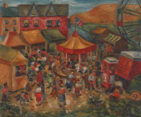 Milton Weiss Fair On The Hill 1938 Painting