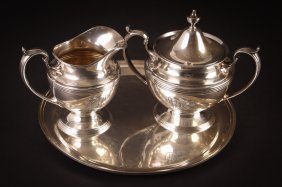 Rogers Sterling Creamer, Sugar Bowl With S Kirk And
