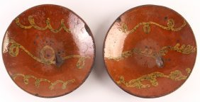2 19th C. Vine Decorated Redware Plates