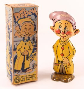 Marx Dopey Walker With Box Tin Litho Windup Toy