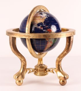 Large Contemporary Mineral Inlaid Desk Globe