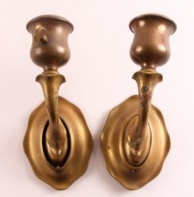 Pair Of Bronze Electric Wall Sconces Attributed To