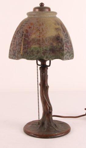 Handel Boudoir Lamp W Tree Trunk & Chipped Ice Shade