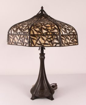 Handel Overlay Slag Glass Art Nouveau Table Lamp