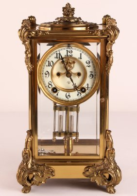Ansonia Bronze Beveled Crystal Carriage Clock