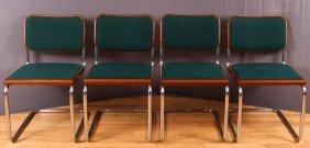 4 Breuer For Knoll Chrome And Walnut Cesca Chairs