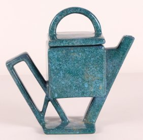 Unusual Brutalist Teal And Purple Glaze Ceramic Teapot