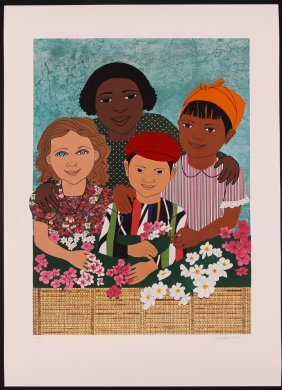 Elizabeth Catlett Children With Flowers Litho