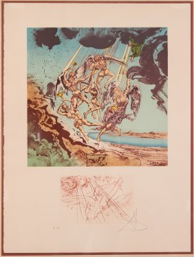 Salvador Dali Signed And Editioned Color Litho &