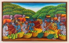 "Hughes Domond Painting ""market Day"""