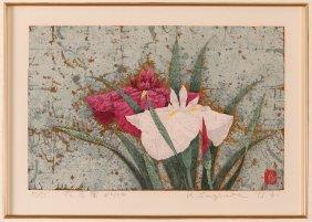 "Kazutoshi Sugiura Screenprint On Gold Leaf ""iris # 104"""