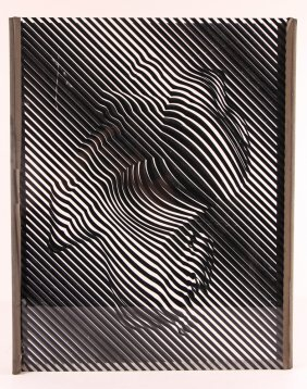 Sceenprinted Plexi-glas Sculpture Possibly By Vasarely