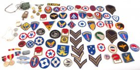 Lot Of Us Military Patches Medals & More