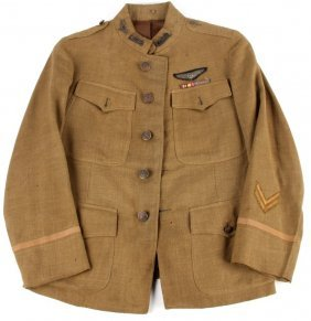 Wwi Usr Air Service Tunic W/ Wings & Bullion Patch