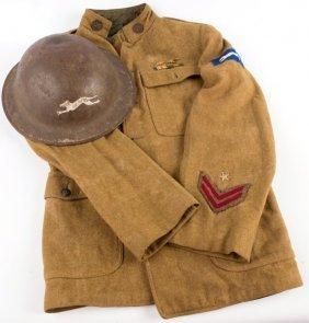 Wwi Us Army Postal Service Tunic & Brodie Helmet