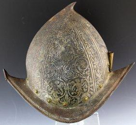 Decorated 16th Century Italian Morion Helmet