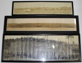 Wwi Us Panoramic Photo Lot Of 3