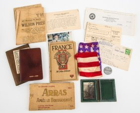 Wwi Archive And Dog Tag Of Victor C. Birge