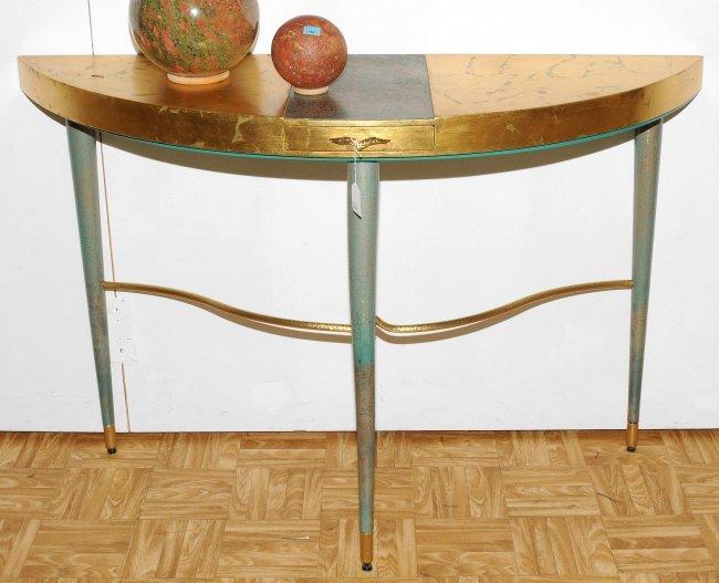 konsolentisch halbrunde holzplatte mit einer schublade lot 3704. Black Bedroom Furniture Sets. Home Design Ideas