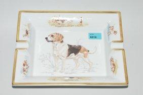 """Herms, Aschenbecher """"beagle"""" Limoges Porzellan."""