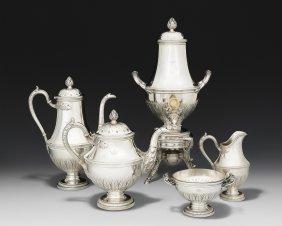 Pariser Tee-/kaffeeservice Um 1900. Silber, 5-teilig.