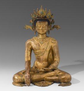 Buddha Shakyamuni Nepal, 20.jh. Kupfer, Feuervergoldet.
