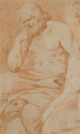 Italien (bologna), 17.jh. Sitzender Jupiter Mit Adler.