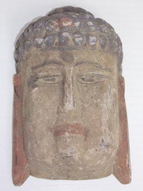 Vintage Wooden Buddha Mask Wall Hanger