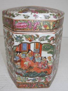Hand Painted Chinese Rose Medallion Hex Opium Jar