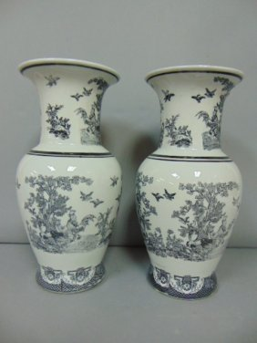 Pair Of Chinese Porcelain Vases With Chickens & Rabbits