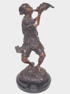 Bronze Japanese Fisherman W/ Shell Horn Statue