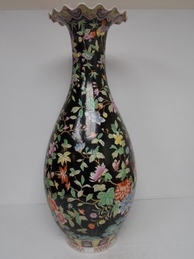 Huge Hand Painted Chinese Porcelain Floor Vase