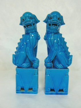 Pair Of Turquoise Blue Chinese Foo Dog Statues